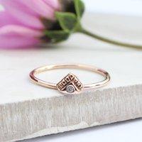 Dulcie, 9ct Rose Gold Diamond Bohemian Skinny Ring, Gold