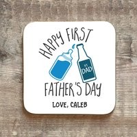 Personalised First Fathers Day Beer Coaster