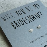 'Be My Bridesmaid' Silver Heart Earrings, Silver