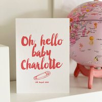 Oh Hello Baby, Personalised New Baby Boy Or Girl Card, Blue/Pink/Green