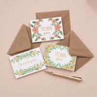 Set Of Six Floral Mini Thank You Cards