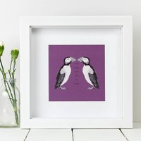 Framed 'One Look Was All It Took' Puffin Love Print
