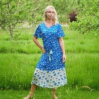 Liana Dress In Blue Poppy Print
