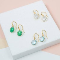 Antibes Round Gemstone And Gold Drop Earrings, Gold