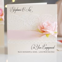 Lace And Rose Personalised Boxed Engagement Card, Black/White/Silver