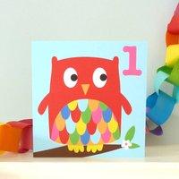 Age One Owl Birthday Card