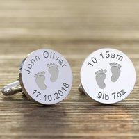 Personalised New Daddy 'Footprint' Cufflinks