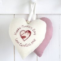 Personalised Hanging Heart Decoration For Her, Cream/Pink Floral/Pink