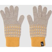 Womens Knitted Lambswool Gloves   Yellow