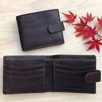 Mens Brown Buffalo Leather Wallet With Rfid
