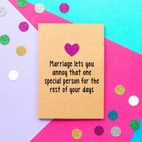 'Annoying Marriage' Funny Wedding Card