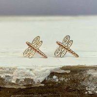 Dragonfly Stud Earrings In Rose Gold And Silver, Silver