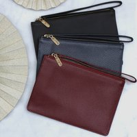 Personalised Nappa Leather Wrist Strap Clutch Bag, Black/Mulberry/Navy