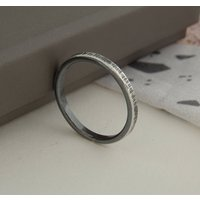 Oxidised Bark Texture Silver Stacking Ring, Silver