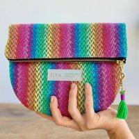 Rainbow Handwoven Clutch Bag