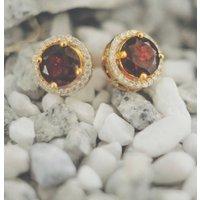 Royal Gold Garnet Earrings, Gold