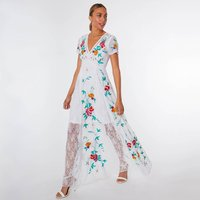Lyria Floral Embroidered Maxi With Lace Panels