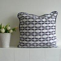 Hand Drawn Stag Piped Cushion, Black/Pink/Orange