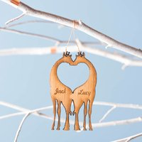 Bamboo Personalised Giraffe Christmas Decoration