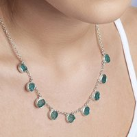Apatite Natural Gemstone Ladies Silver Necklace, Silver