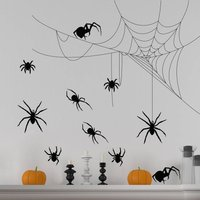 Halloween Spider And Cobweb Wall Sticker Set, White/Black/Grey