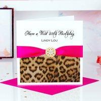 Animal Print Personalised Birthday Card Leopard Print, Purple/Hot Pink/Pink