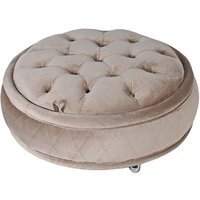 Taupe Round Storage Ottoman Footstool
