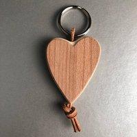 Handmade Maple Wood Heart Key Ring