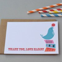 12 Personalised Circus Sea Lion Thank You Cards