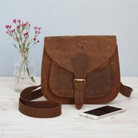 Personalised Curved Brown Buffalo Leather Saddle Bag