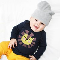 Baby And Child Lion Top Personalised, Navy/Red/Pink