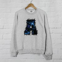 Personalised Sweatshirt With Appliqued Galaxy Letter, Black/Navy/Grey