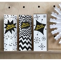 Set Of Three Christmas Cards With Paper Snowflakes