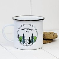 Personalised Forest Enamel Mug, Green/Pink