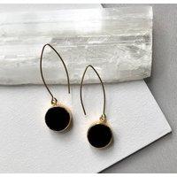 Mini Circle Black Onyx Jasper Dropper Earrings