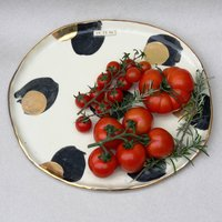 Personalised Gold Spotted Ceramic Platter