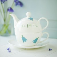 Bluebells Personalised China Teapot Cup And Saucer, Blue
