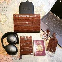 Brown Crocodile Embossed Leather Travel Wallet
