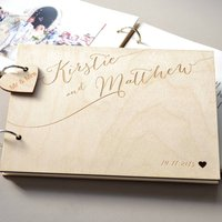 Personalised Engraved Calligraphy Guest Book, White/Black/Grey