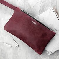 Personalised Luxury Leather Soft Clutch Bag Gift