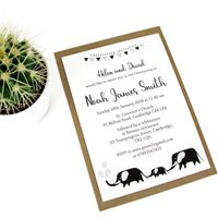 Elephant Family Christening Invitation