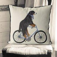 Bernese On Bicycle Decorative Cushion