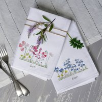 Pair Of Personalised Birth Flower Napkins