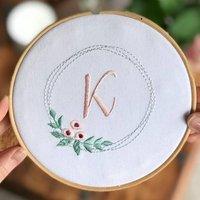 Personalised Flower Wreath Embroidery Hoop