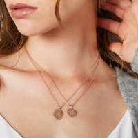 Womens Rose Gold Vermeil Initial Message Necklace, Gold