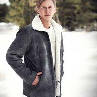 Mens Grey Aviator Sheepskin Coat