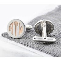 Rose Gold And Silver Deco Monogram Cufflinks, Silver