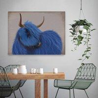 Highland Cow In Blue Art Print