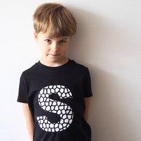 Personalised Black Kids Animal Print Letter T Shirt