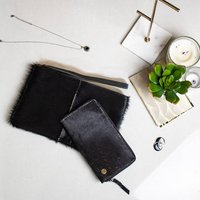 Black Cowhide Leather Clutch And Purse Matching Set